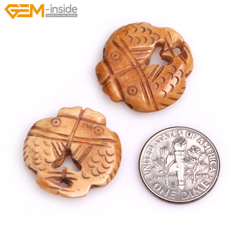 Gem-inside 4 Pcs Big Large White Yellow Carved Bone Tortoise Fish Birds Beads For Jewelry Making Beads Halloween DIY Beads