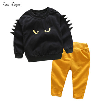 Tem Doger Kids Boys Clothing sets Cartoon Black T shirt + Yellow Pants Children Boy Clothes suit Sportswear conjuntos casuales para niñas