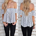 New 2016 Women Sexy Off Shoulder Chiffon Ruffle Blouses Striped Tops Summer Casual Sleeveless Loose Boho Shirts blusas mujer Z1