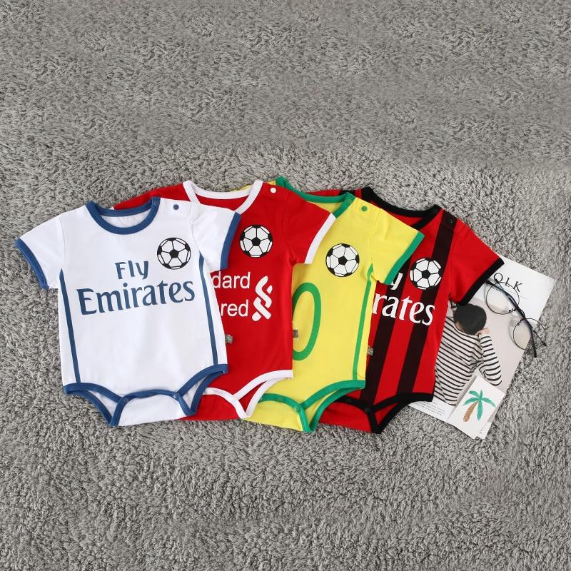 Baby Unisex Football Suit Climb   Rompers   Children Sport Jumpsuit Kids Cotton Soccer Clothes No.7 Ronaldo No.10 Messi No.10 Neymar