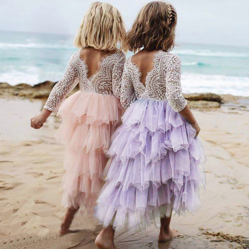 все цены на Long Ruffled Cake Dress for Girl Communion Gowns V-back White Lace Long Sleeves Irregular Hem Girls Dresses for Wedding Party онлайн