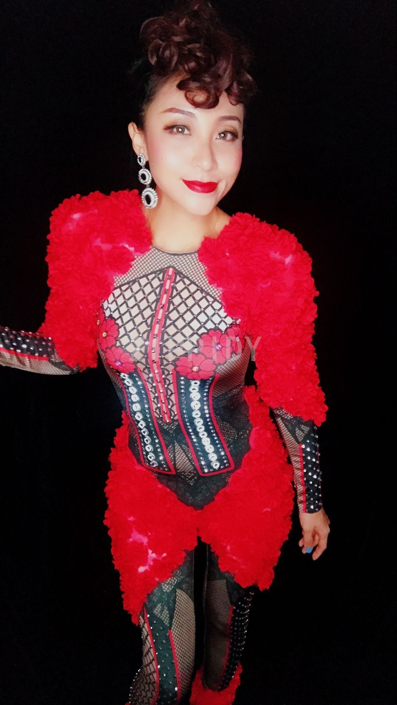 Sexy Red Nouveau Fleurs Salopette Danse Célébrer Femmes Spandex Rouge D'anniversaire Costume Outfit Pièce Appliques De Strass Discothèque Une TgwpgX1q