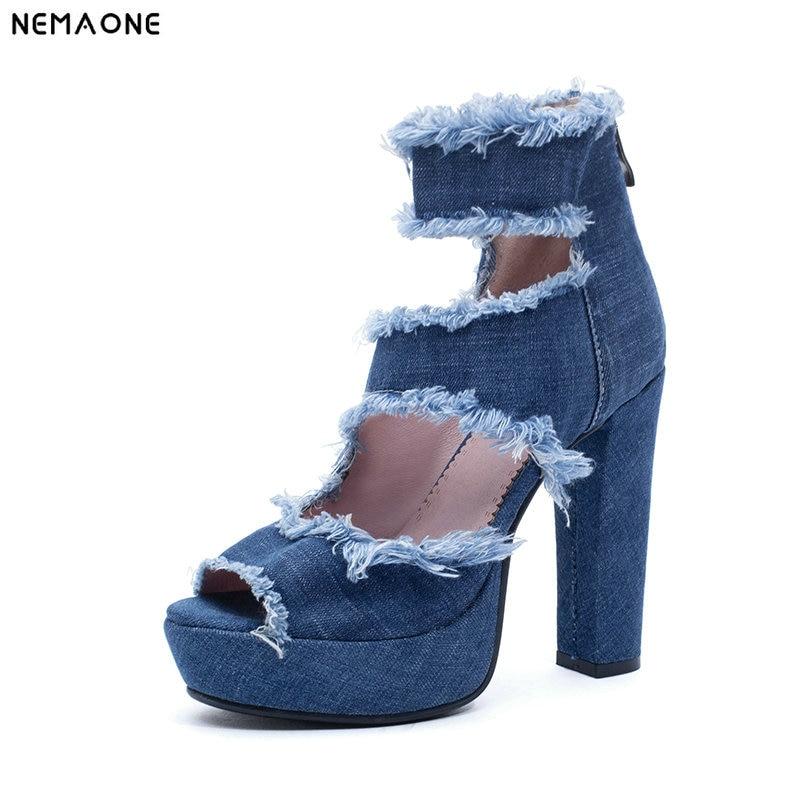 NEMAONE 2019 new High Heels sandals Summer Shoes For Woman Blue Jeans Denim Sandals Gladiator Fashion