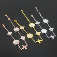 Cheap Wholesale Trade Round Square Four White Shell Bracelet 18 Carat Gold Pendant Bracelet MS