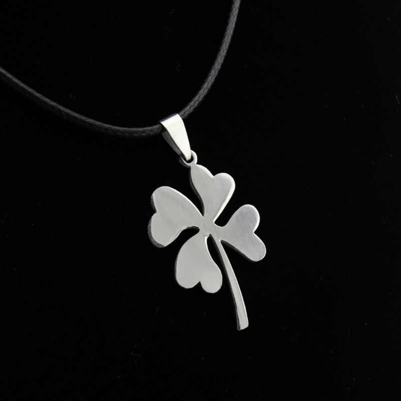 Trébol amuleto collares joyería de las mujeres titanio acero Color plata gargantillas largas cuero negro declaración Collar para hombres cadenas