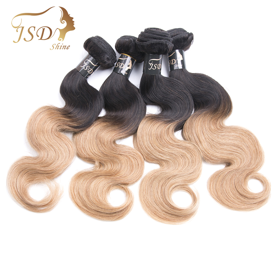 JSDShine Peruvian Hair Body Wave Human Hair Weave Bundles Deal 1B/27 4 PCS Weft Two Tone Non Remy Hair Extensions Free Shipping