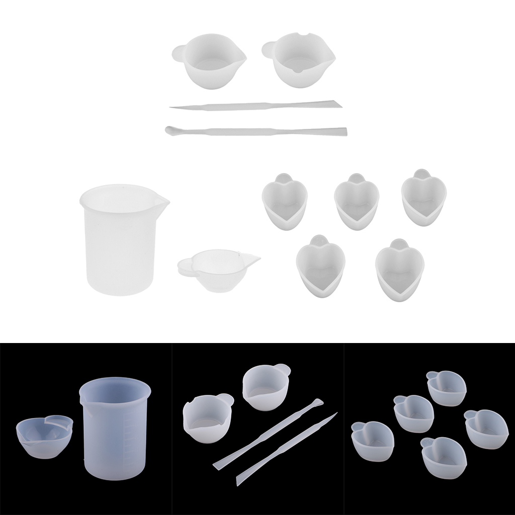 11pcs/Set Silicone Stirring Rods Stick + Mixing Measuring Distribution Cups Epoxy Resin Tool