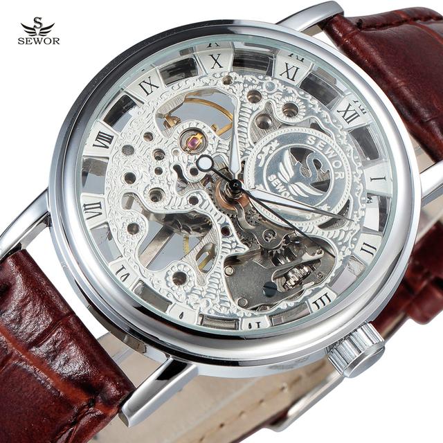 2017 top marca de luxo de prata transparente esqueleto sewor mecânica homens relógio de pulso masculino relógio de couro moda casual masculino
