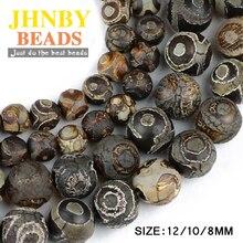 JHNBY Китай ювелирные изделия тибетский глаз бусины из Натурального Коричневого камня Религия 8/10/12 мм круглые бусины для изготовления ювелирных изделий браслет DIY