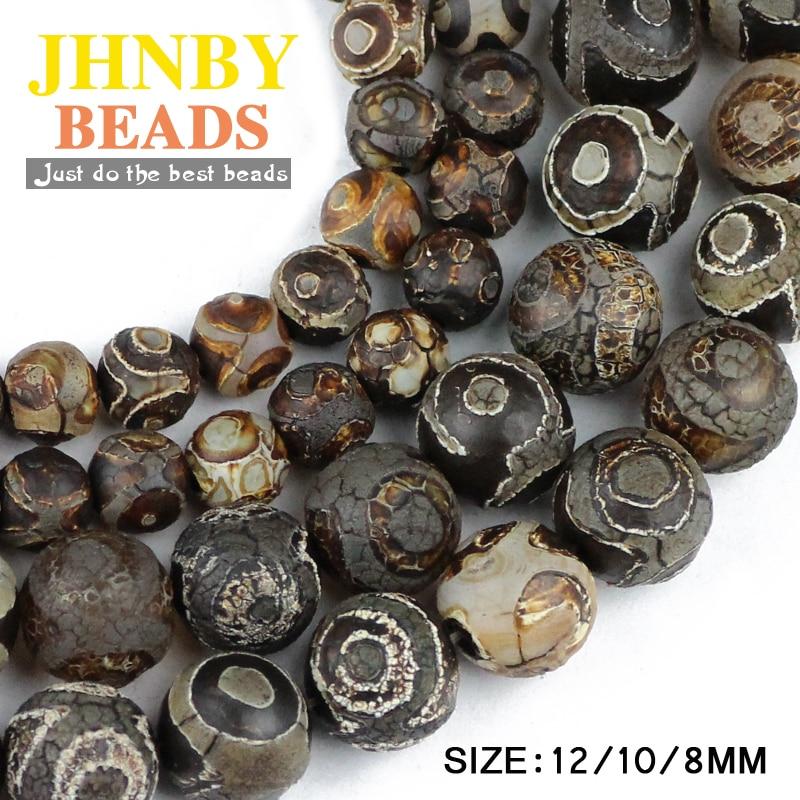 JHNBY China Tibetan Dzi Eyes beads Natural brown Stone Religion 8/10/12MM Round Loose beads for jewelry making bracelet DIY