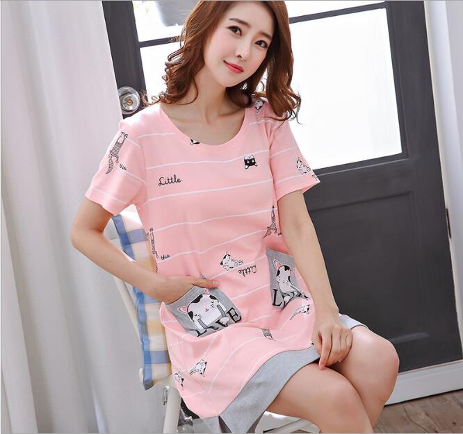 2017 New Cotton Nightgown Women Sweet Girl Lounge Cute Nightdress Sleepwear Short Sleeve Casual Nightwear Gray Sleepshirts Shirt girl