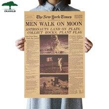 Dlkklb Аполлон 11 Луна посадки Нью-Йорк Таймс Винтаж Плакат крафт-бумага ретро детская комната украшения стикер 51x35,5 см