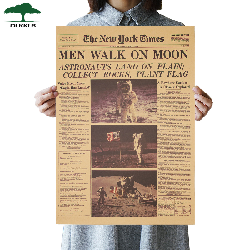 Dlkklb The Apollo 11 Moon Landing New York Times Vintage Poster Kraft Paper Retro Kids Room Decoration Wall Sticker 51x35.5cm