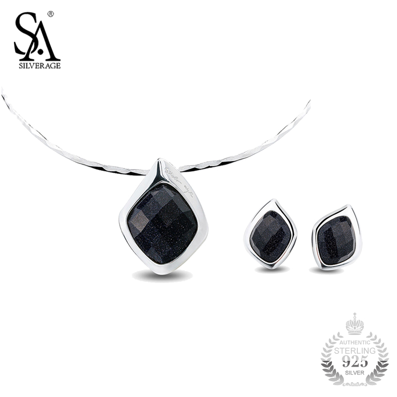 SA SILVERAGE Jewelry Sets Silver 925 Geometry Design Necklace And Earrings Set Sterling Silver Jewelry Women Accessory Gift