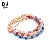 New Chic Small Round Natural Agates Stone Bracelets For Women Fancy Gold Copper Nugget Faceted Crystal Beaded Bracelet BC325(China)