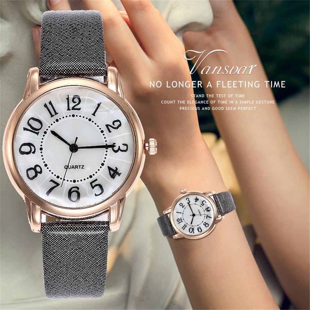 Vansvar Fashion Brand Women's Watches Quartz Leather Newv Strap Ladies Dress Luxury Watch Analog Mens Wrist Watch relogio