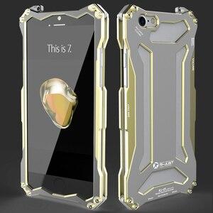 Image 5 - R JUST Gundam metalowy zderzak skrzynka dla iPhone 7, odporna na wstrząsy najwyższej jakości na zewnątrz etui na iPhonea 7 Plus pancerz powłoka aluminiowa przypadku