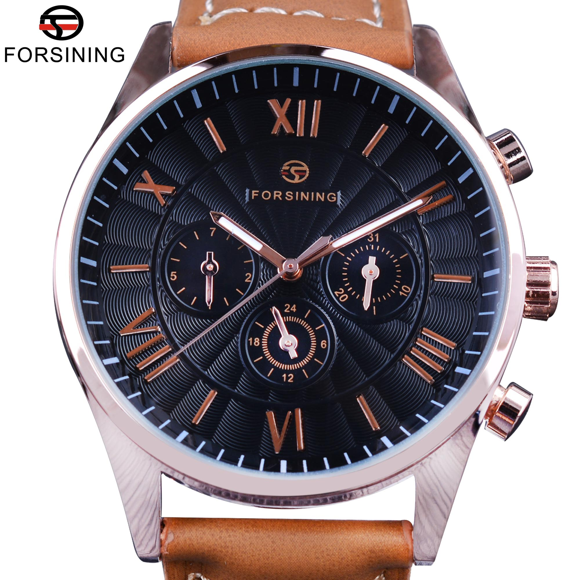 Forsining 2017 Fashion Swirl Dial Design 3 Dial 6 Hands Genuine Leather Mens Watches Top Brand Luxury Display Automatic Watch