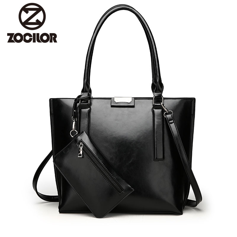 Fashion two sets PU Leather Women Handbags High Quality oil Leather Women Messenger Bags Vintage Black color female Shoulder bag fashion hot simple design women shoulder bag vintage handbag quality pu leather messenger bag female retro handbags wholesale