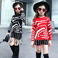 New Autumn and Winter Girls T-shirt Baby Sweater Child Leisure Spot Horsehair Kids Clothing Tassel Red Black