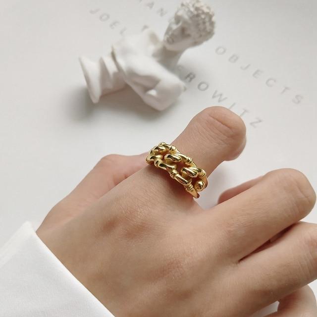 925 sterling silver industry wind open rings gold fashion Irregular twist crud c