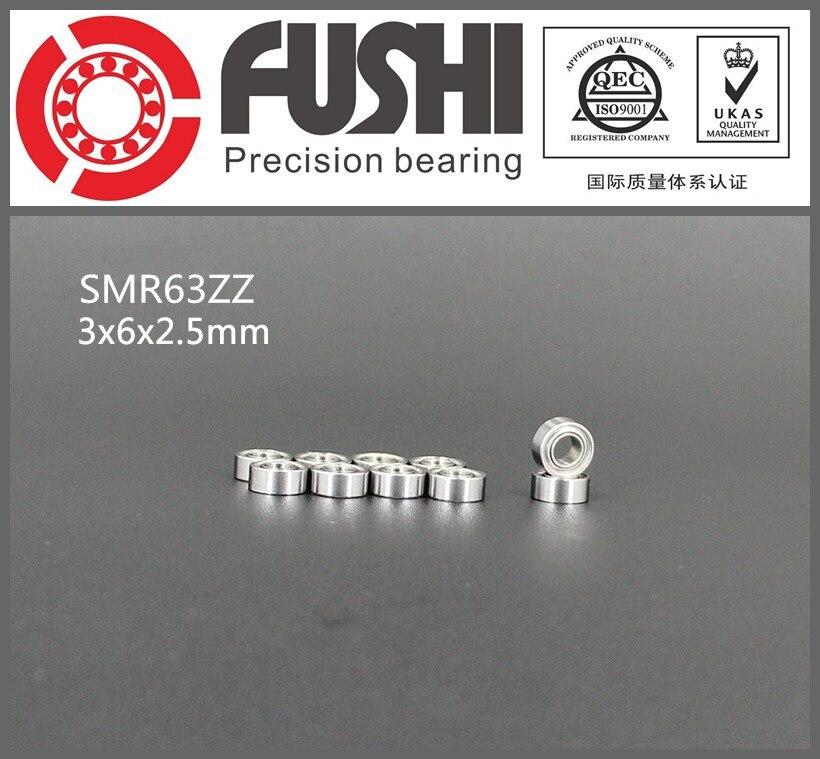SMR63ZZ ABEC-1 (10PCS) 3X6X2.5mm Stainless Steel Miniature Ball Bearings SMR63ZZ gcr15 6326 zz or 6326 2rs 130x280x58mm high precision deep groove ball bearings abec 1 p0