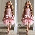 Luxo Laço Cor de Rosa Vestidos Da Menina de Flor Do Laço Apliques Ruffles Em Camadas Crianças Beauty Pageant Vestidos De Baile Para Meninas Vestidos