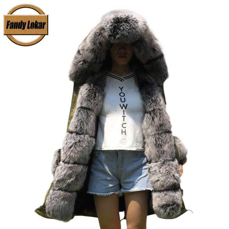 6c4d754ab6ec ... Fandy Lokar Real Fur Parka Women Winter Jacket Real Fox Fur Hooded Coats  Nature Rabbit Fur ...