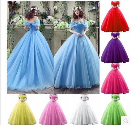 2015 Movie Cinderella Dress Wedding Blue & White New halloween costumes for women