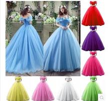 2015 Movie Cinderella Dress Wedding Blue & White New halloween costumes for women