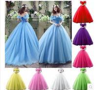 2015 Movie Cinderella Dress Cinderella Wedding Dress Blue White Dress New Cinderella Halloween Costumes For Women