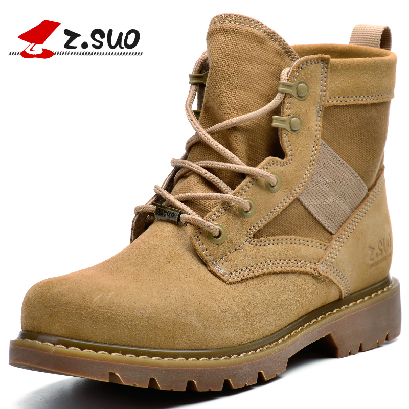 ZSUO Brand Tactical Boots Men Desert Men Ankle Boots Cow Leather Stitching Canvas Army Soldier Military