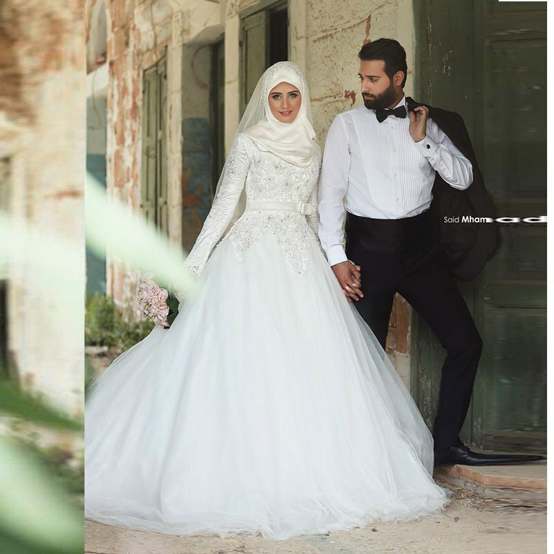 En Árabes Tribunal Larga Vestido Nupciales Boda Con Musulmán De Manga Encaje 2016 Hijab Vestidos Novia Tren 6F6ZUqTW
