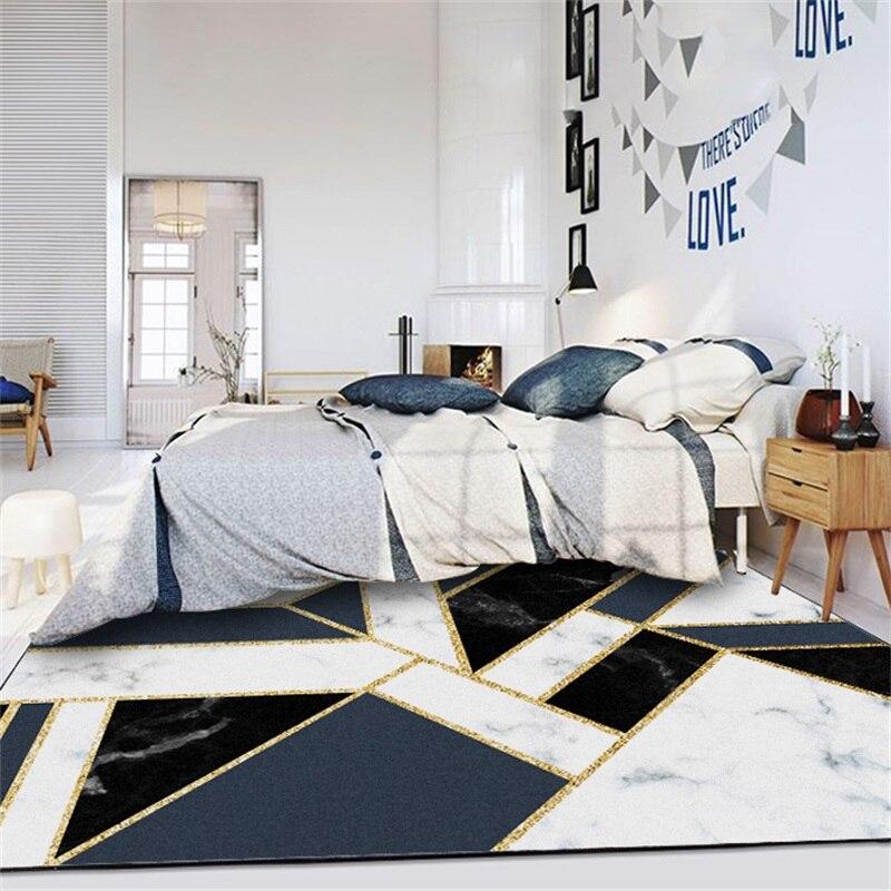 Modern geometric blue black white marble gold line door - Gold rug for living room ...