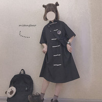 Victorian Dress Chinese Style Buckle Retro Loose Kawaii Girl Sweet Lolita Dress Cosplay Loli Op Gothic Lolita Black Dress