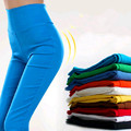 2016 Moda Doce Cor de Cintura Alta Calças Lápis Legging Calças Skinny Slim Lady Calças Legging L/XL/XXL frete Grátis 18 Cores