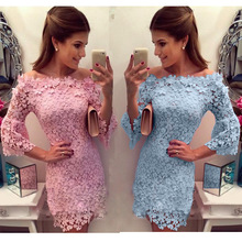 цена на 2018 New Arrivals sexy lace slash neck dress vestidos femininos Women's Clothing Women dress