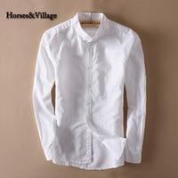 Men White Linen Shirt Stand Collar Chinese Traditional Mandarin Collar Cotton Dress Shirt Long Sleeve Linen