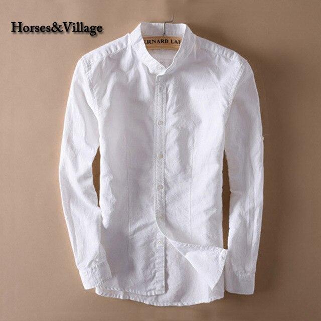 c8f89eed91 Men White Linen Shirt Stand Collar Chinese Traditional Mandarin Collar  Cotton Dress Shirt Long sleeve Linen