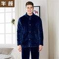 Мужской толщиной фланель pajama наборы мужчины осень зима с длинным рукавом Мужчины больше кнопок кардиган Теплый пижамы мужские пижамы пижамы