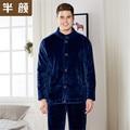 Masculino grosso flanela conjuntos de pijama dos homens outono inverno longo da luva Dos Homens mais botões casaco de lã Quente dos homens sleepwear pijama pijama
