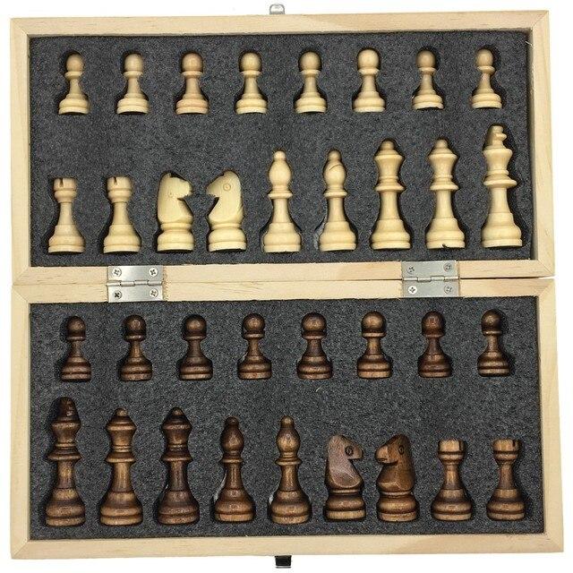 Ensemble d'échecs magnétiques et pliants en bois, taille 23.7cm x 23.7cm 1
