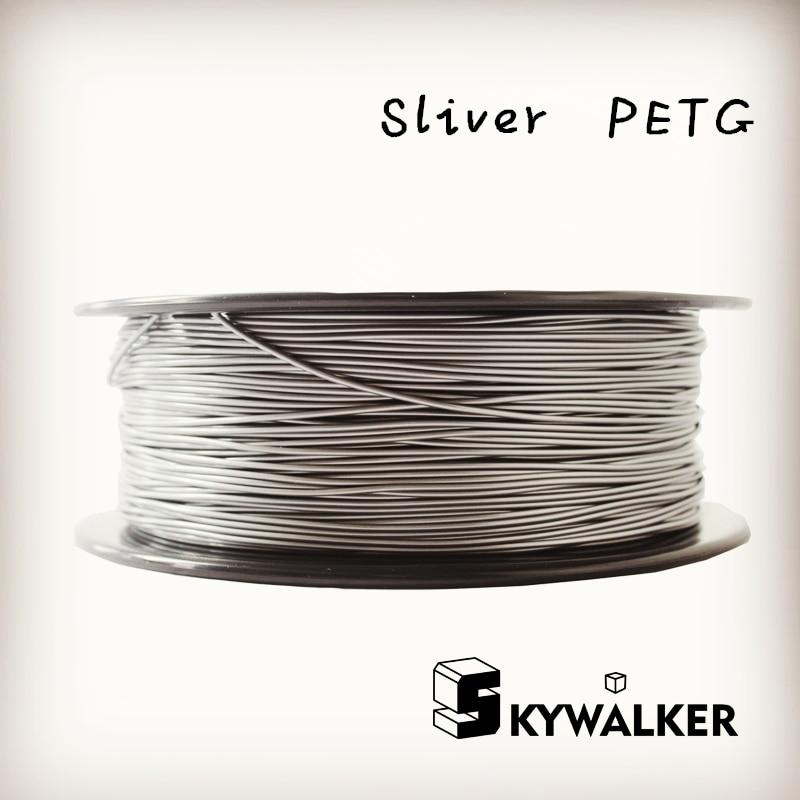 ФОТО CE certification petg 1.75mm 3d filament 1kg high petg 3d filament quality sliver color  3d printer filament