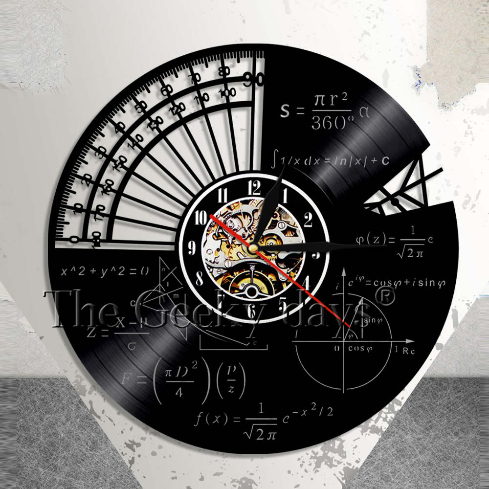 Math Formula Science Classroom Wall Art Wall Clock Geek Graphic Math Equation Vinyl Record Wall Clock Math Teachers Gift Idea