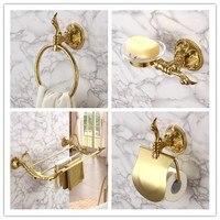 Роскошные золотые 4 частей Ванная комната Оборудование Набор аксессуаров латунь золотой Полотенца стойку держатель для бумаги Полотенца к