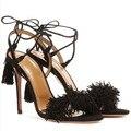 Shoes Woman Sandals High Heels Sheepskin Fringe Heels Lace Up Fringe Gladiator Sandals Women Genuine Leather Sandals FS-0042
