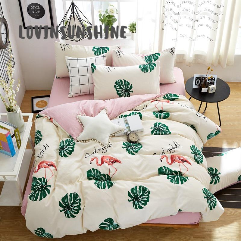 LOVINSUNSHINE Bedding Cover Cotton Queen Bed Sheet Duvet Comforter Sets AB#32