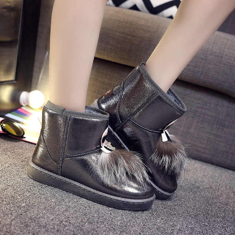 FEVRAL Mulher Quente Botas de Neve de Inverno Pu Slip-On Senhoras Confortáveis Botas Curtas Tornozelo para Calçado Mulher Top Fashion botas de Mulher