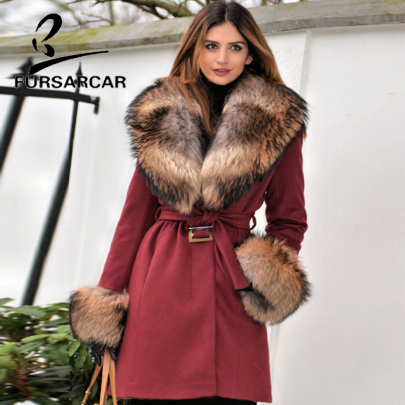 FURSARCAR Winter Women Real Fur Coat 2018 New Woolen Slim Jacket Genuine Leather Detachable Long Coat & Raccoon Fur Collar
