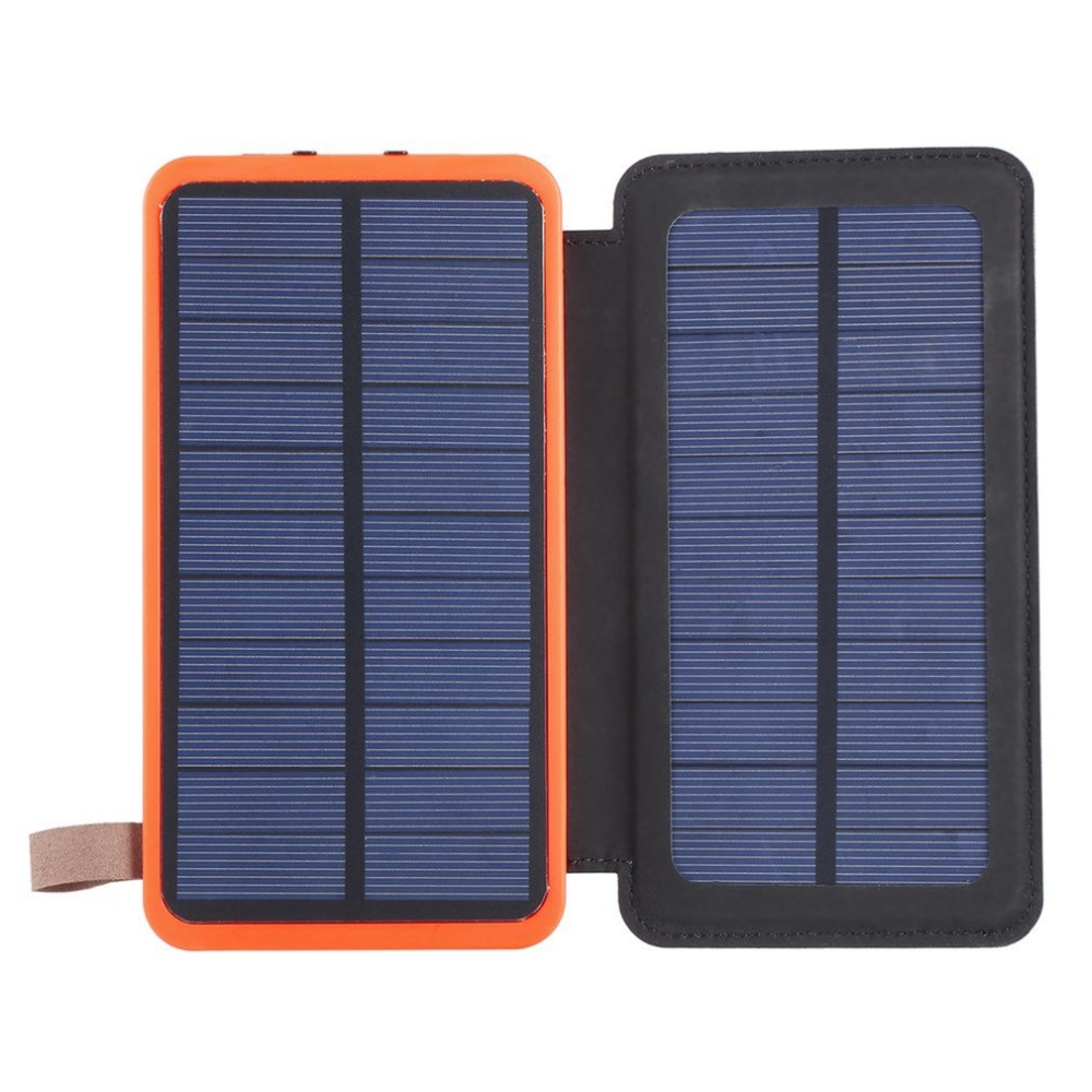 Solar Power Bank 30000mAh Waterproof Powerbank Charger Doubled Fold Portable Power Source With Camping Light For Mobile Phone
